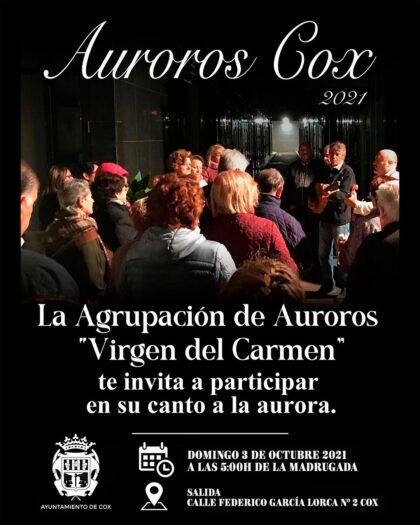 Cox, evento cultural: Recorrido de la agrupación de Auroros 'Virgen del Carmen' de Cox con su canto a la aurora, organizado por el Ayuntamiento